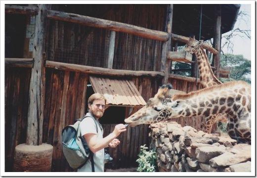 Hubby Feeding Giraffes
