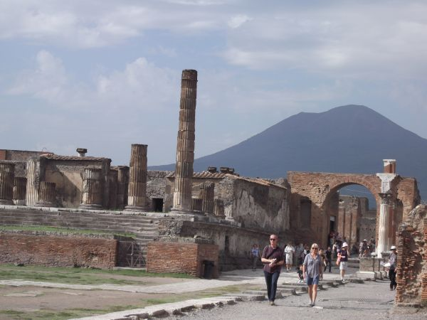 Pompeii with Mt Vesuvius in background