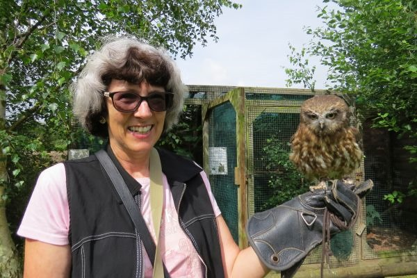 Shelley and a Morepork (New Zealand owl)
