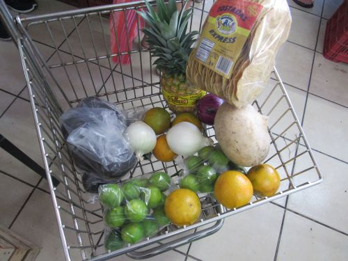 Starting to fill up the shopping trolley