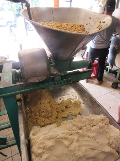 A grinding machine at the tortilla factory
