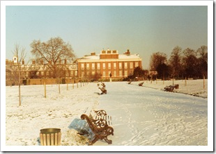 Kensington Palace after a snow fall, London